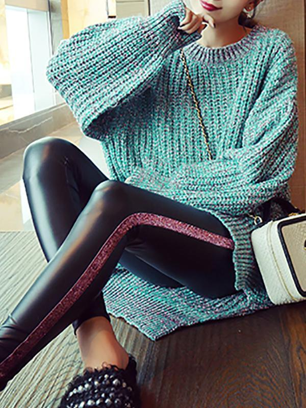 Fashion Round Neck Pure Colour Knitwear Sweater