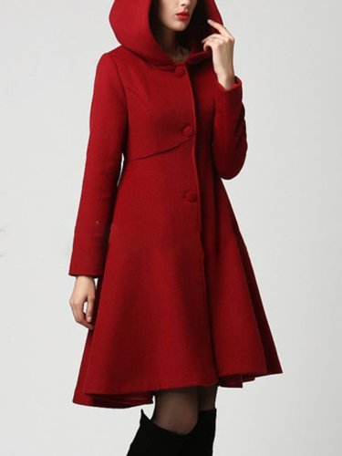 Pockets Solid Elegant A-Line Lady's Winter Skirt Coats With Hoodie