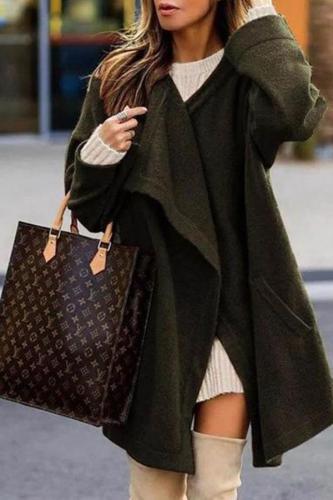 Solid Color Long Knit Cardigan Coat