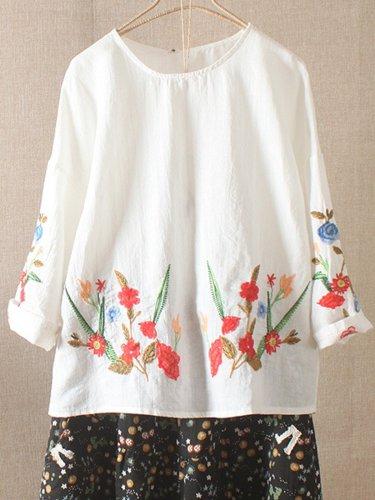 Cotton-Blend Half Sleeve Sweet Shirts & Tops