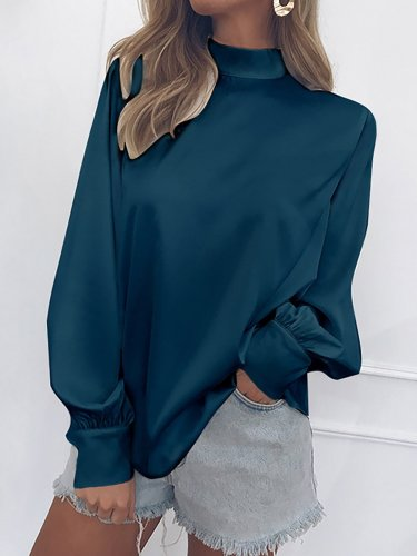 Chiffon Turtle Neck Solid Casual Blouses & Shirt