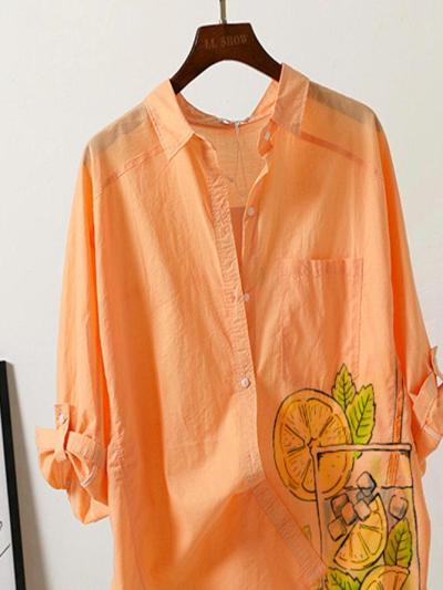 Orange Shirt Collar Casual Shirts & Tops