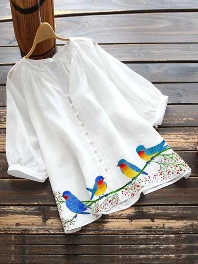 White Cotton-Blend Pastoral Shirts & Tops