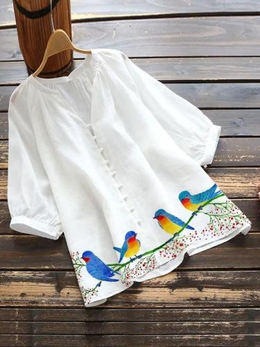 White Cotton-Blend Pastoral Shirts & Tops