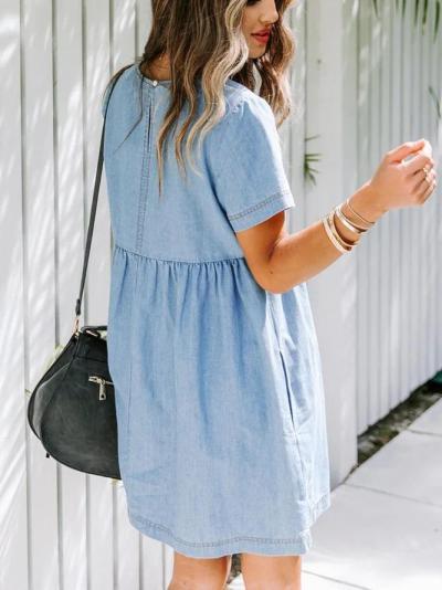 Blue Casual Plain Dresses