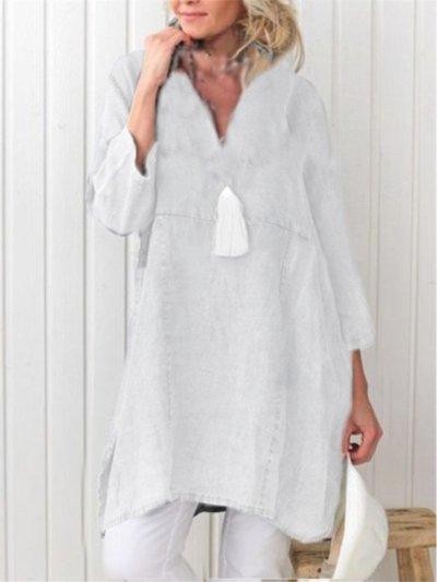3/4 Sleeve V Neck Casual Plain Dress