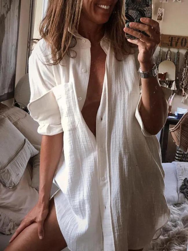 Women Casual Long Sleeve Cotton Shirts