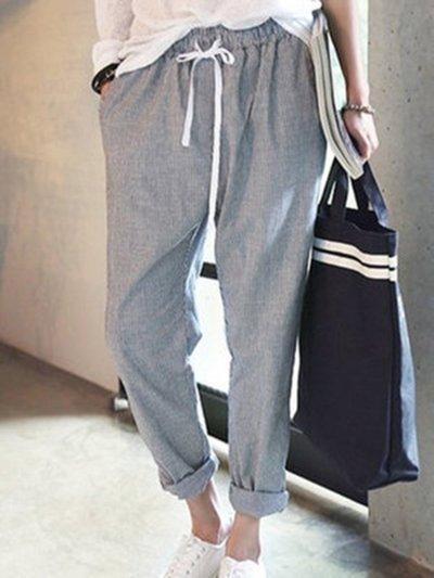 All Season Natural Casual Linen Stripes Pants