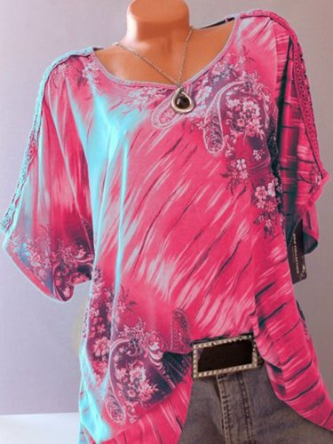 Short Sleeve Printed Casual Casual Tops