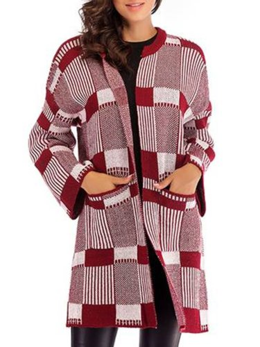 Knitted Casual Paneled Geometric 2018 Women's Warmest Cardigans