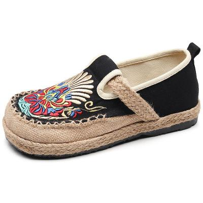 Women Embroidered Linen Loafers Ladies Handmade Shoes Comfortable Platform Sneakers