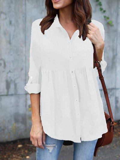 Polyester Shawl Collar Casual Shirts