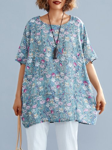 Women Short Sleeve Round Neck Vintage Floral Casual Tops