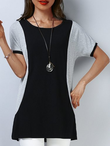 Plus Size Women Short  Sleeve  Round Neck  Black Stitching Gray  Casual  Tops