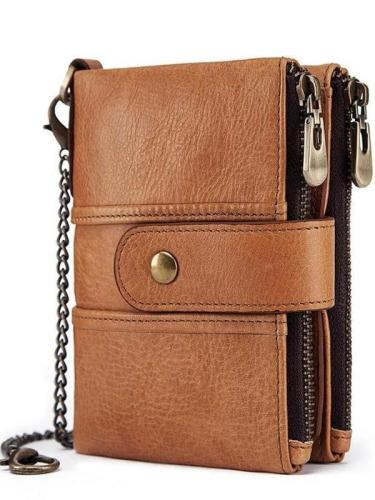 Men's Genuine Leather RFID Buckle Wallet