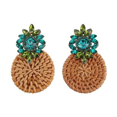 Crystal Flower Drop Earrings Women Boho Ethnic Bamboo Statement Earrings