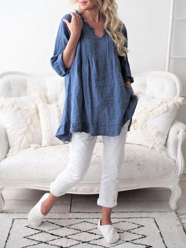 Women Casual Tops Long Sleeve Cotton Patchwork Summer Tops