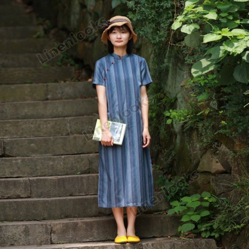 Cotton and Linen Retro Art Printing Long Dress Women's Summer