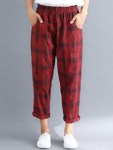 Plus Size Women Plaid Casual Pants