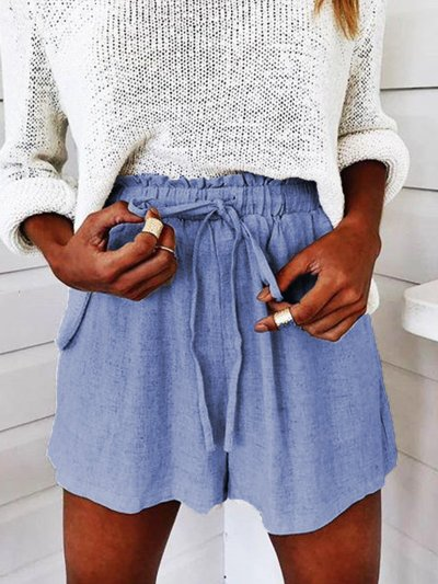 Solid Cotton-Blend Shorts