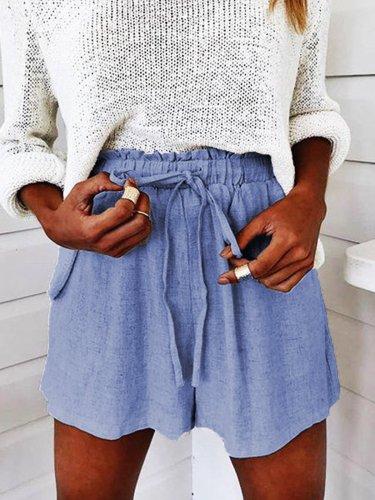 Solid Cotton-Blend Shorts