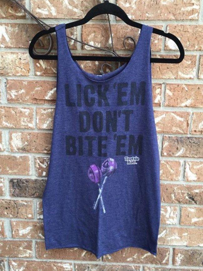 Blue Cotton Crew Neck Statement Shirts & Tops