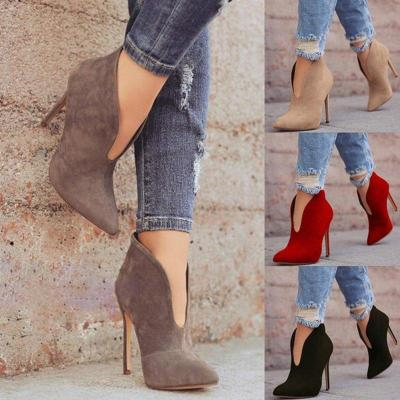 Women Spring Ankle Boots Cut Out High Heel Suede Shoes