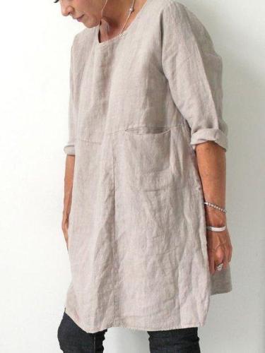 Cotton Crew Neck Short Sleeve Dresses