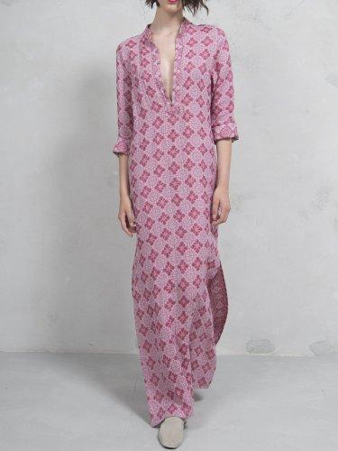 Printed V Neck Shift Basic Casual Dress