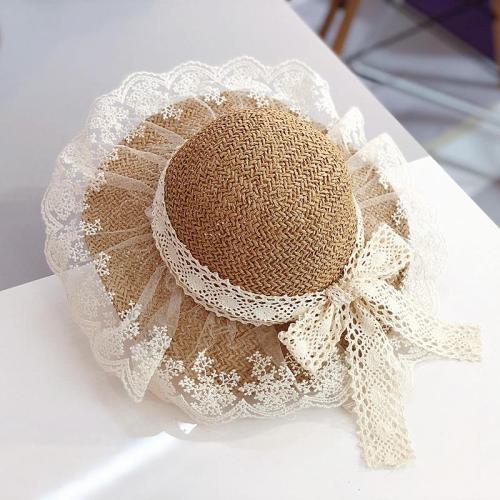 Children's Straw Hat Girls Summer Breathable Lace Bow Beach Sun Hat