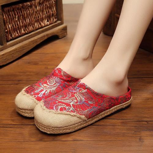 Women's Linen Slippers Straw Women's Shoes