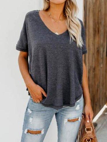 Gray Short Sleeve Cotton-Blend Plain V Neck Shirts & Tops