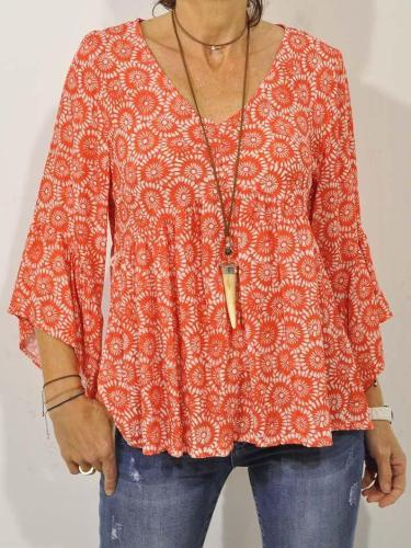 Plus Size V Neck Casual 3/4 Sleeve Printed Tops