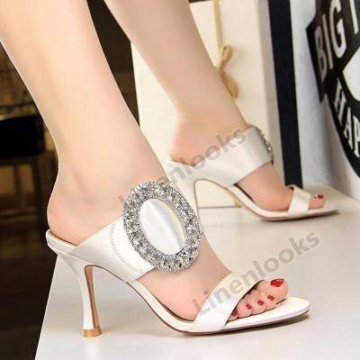 Women Summer Slippers Shoe High Heels Sandals Fashion Rhinestone Wedding Shoes