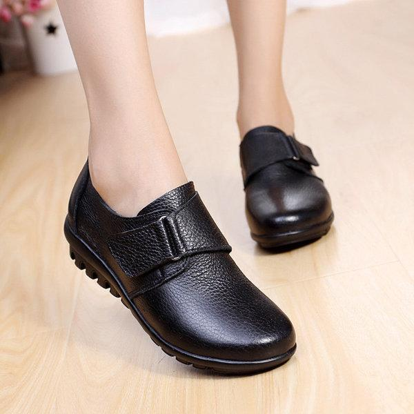 Big Size Buckle Leather Hook Loop Soft Flat Casual Loafers