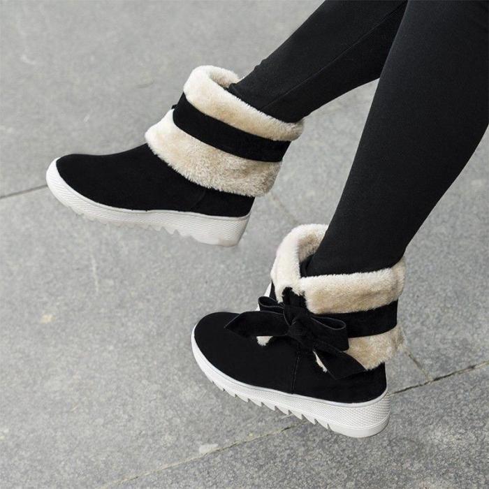 Women Low Heel Bowknot Decoration Boots
