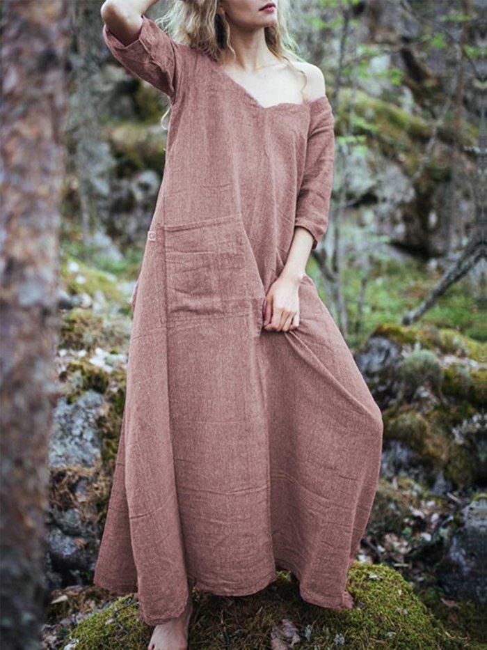 Casual V Neck Pockets Solid Dresses