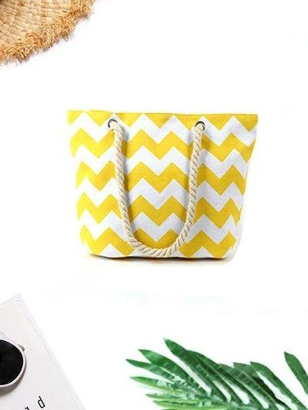 Women's Beach Zigzag Stripe Zipper Canvas Tote Bag