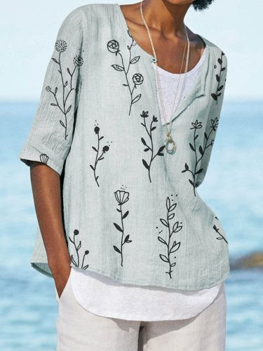 Floral Half Sleeve Casual V Neck Shirts & Tops