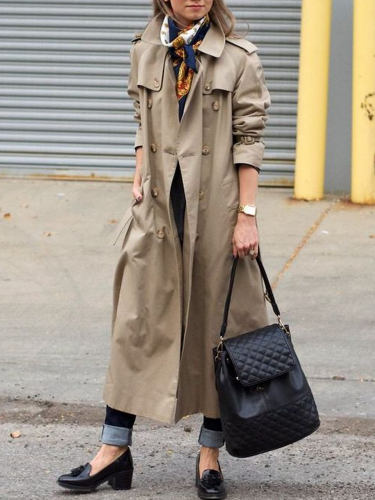 Grey Cotton-Blend Long Sleeve Outerwear