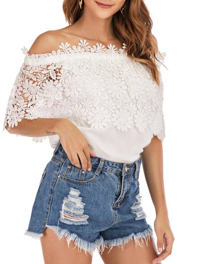Plus Size Women Crocheted  Off Shoulder  Lace Chiffon Casual Tops