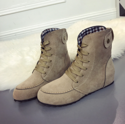 Khaki Anti-slip Suede Flat Heel Lace-up Daily Boots