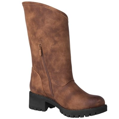 Women's Twisted Rider Fashion Boots Zipper Vintage Casual Low Heel Boots