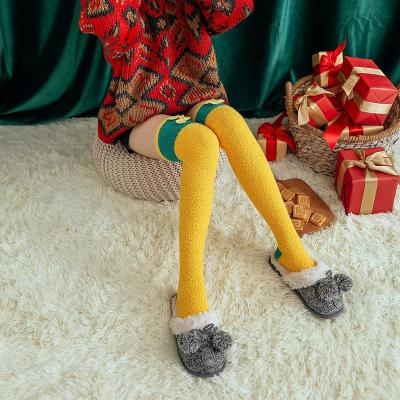 Autumn and Winter New Christmas Knee Socks Cartoon Embroidered Coral Velvet Floor Socks Long Barrel Plus Leg Socks