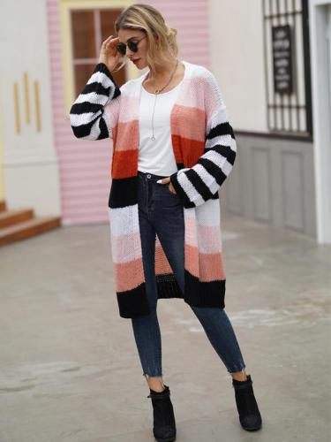 Rainbow Striped Patchwork Sweaters Long Sleeve Knitting Cardigan