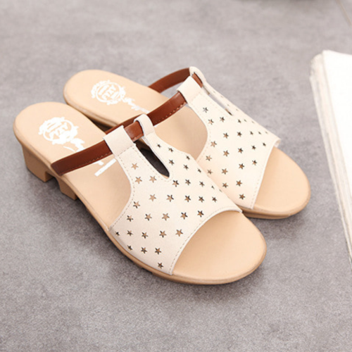Women Summer Beach Wedge Heel Star Hollow-Out Slippers