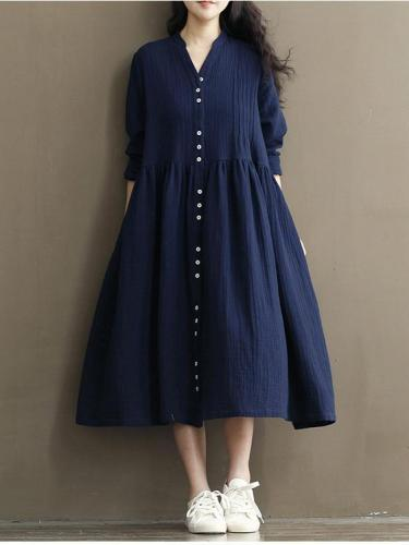 Long Sleeve Women Casual Loose Linen Cotton Solid Dress