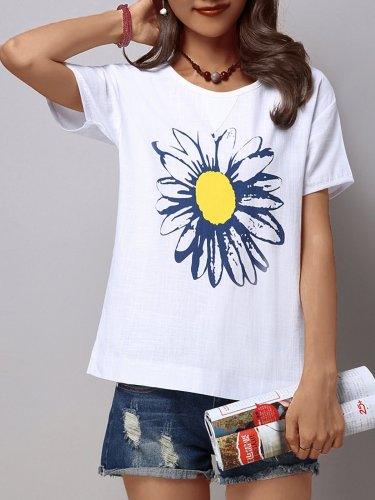 Plus Size Women Short Sleeves Loose Cotton Sun Flower Graphics Casual Tops