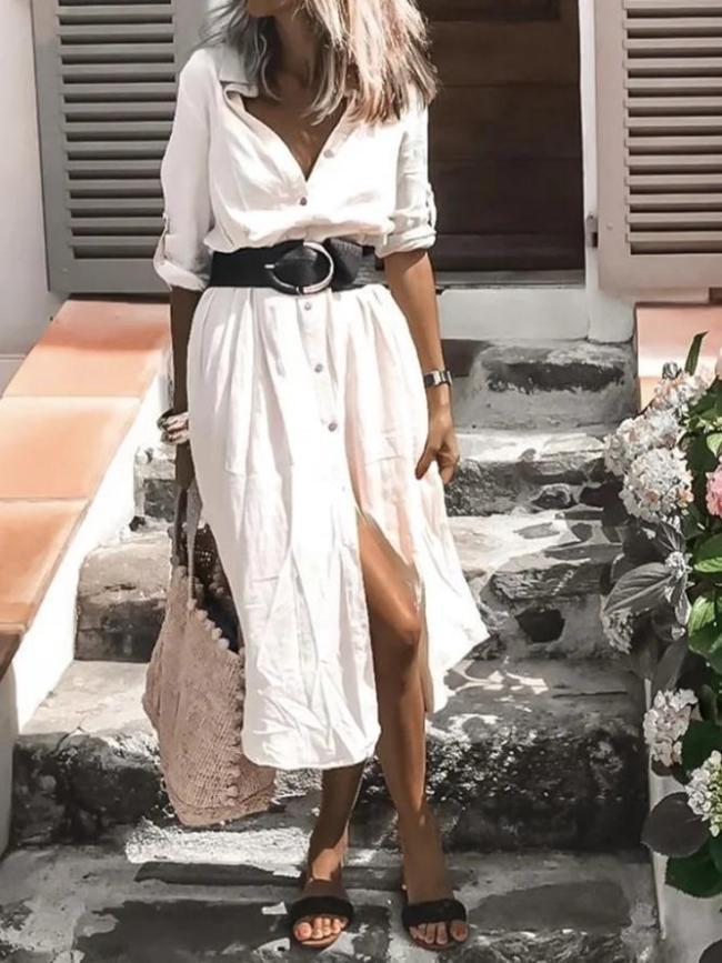 Vintage Long Sleeve Shirt Collar Plain Dresses