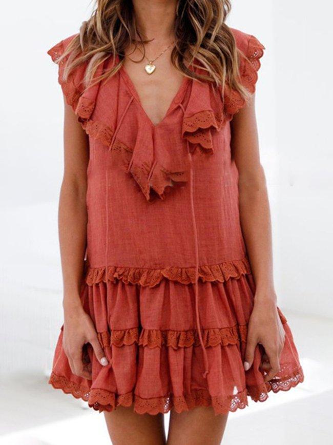 Summer Dress Paneled Pierced V-Neck Sweet Dresses